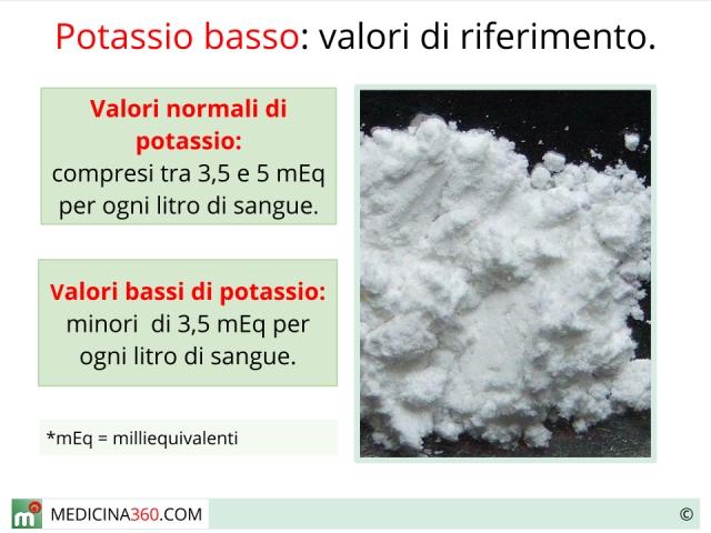 Potassio basso, carenza di potassio nel sangue